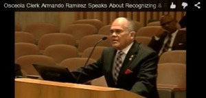 Osceola County Clerk Armando Ramirez speaks on the record at City Hall about recognizing Rico Piccard.
