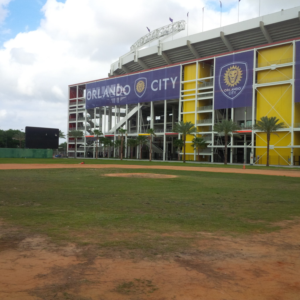 From home plate, looking towards the new Citrus Bowl. Tinker Field will now serve as a parking lot for Citrus Bowl events. (photo by Mike Cantone ©)