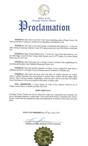 Paper Towns proclamation
