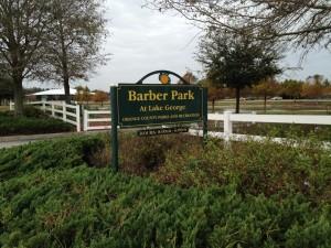 Barber Park at Lake George sign