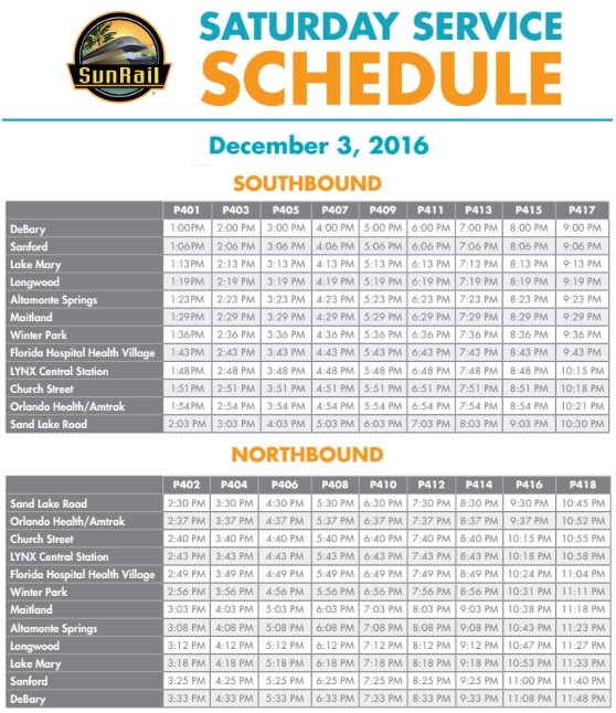 SunRail Schedule for December 3rd Saturday Service