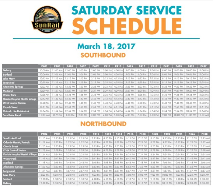 Sunrail Schedule for March 18th Special Saturday Service